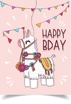 Um cartão de aniversário decorado com uma lhama com enfeites corporais.