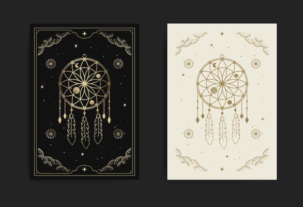 Um cartão de apanhador de sonhos com temas gravados, esotéricos, boho, espirituais, geométricos, astrológicos, mágicos, para cartões de tarô