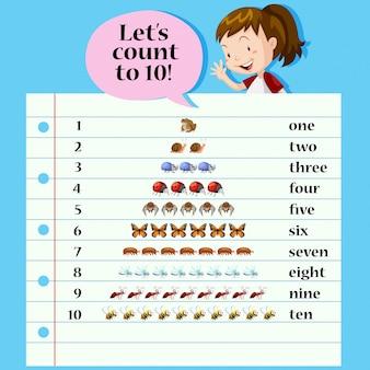 Um cartão de contagem de matemática
