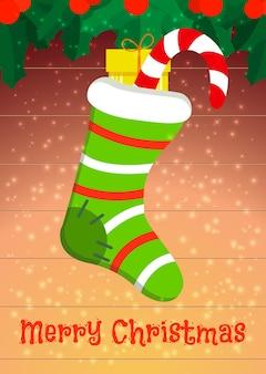 Um cartão de férias com uma meia de natal e presentes. ilustração vetorial.