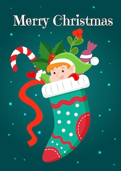 Um cartão de natal com um duende engraçado espreitando de uma meia de natal com presentes. ilustração vetorial.
