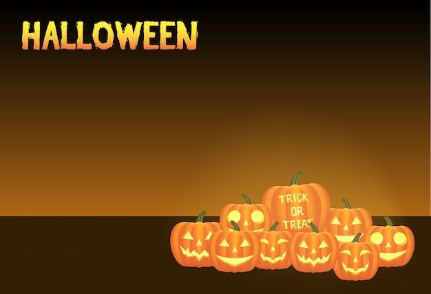 Um cartão de vetor de abóboras de halloween