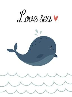 Um cartão do mar com uma baleia nas ondas amor mar