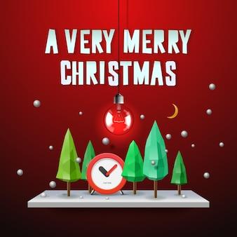 Um cartão muito feliz de natal com ilustração vetorial de decoração de natal
