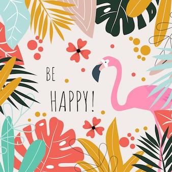 Um cartão postal com flamingos e as palavras