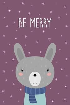 Um cartão postal com um coelho bonito de desenho animado