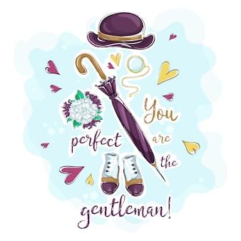 Um cartão postal com uma composição de acessórios para um cavalheiro
