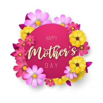 Um cartão postal para o dia das mães, com flores de papel e carta.