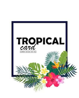 Um cartão tropical com folhas de palmeira e flores exóticas. o design da selva de verão é ideal para folhetos, cartões postais, etiquetas e designs exclusivos. vetor