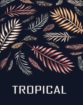 Um cartão tropical com folhas de palmeira e flores exóticas o design da selva de verão é ideal para folhetos