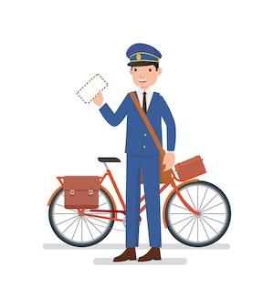 Um carteiro com a bicicleta está pronto para enviar uma carta