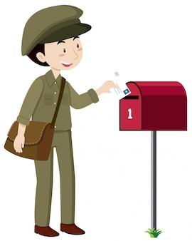 Um, carteiro, entrega, correio