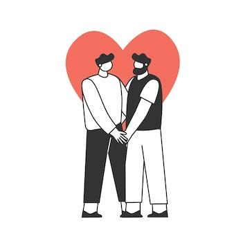 Um casal apaixonado. dois rapazes. os personagens estão comemorando o dia dos namorados. conceito de amor e romance.