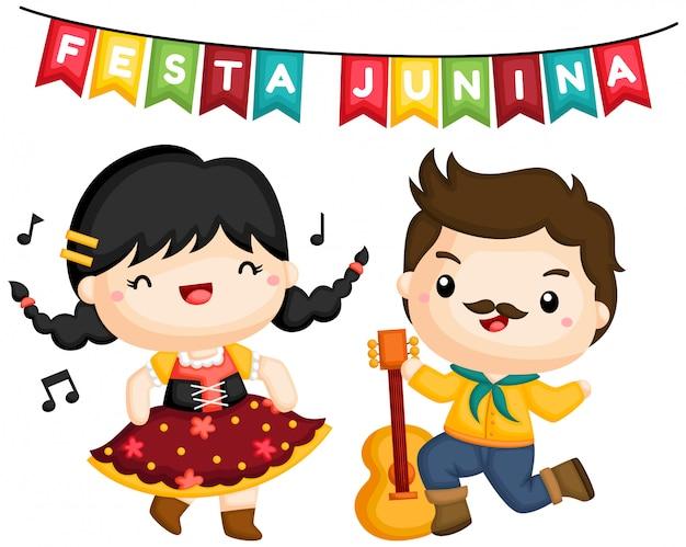 Um casal cantando e dançando na festa junina