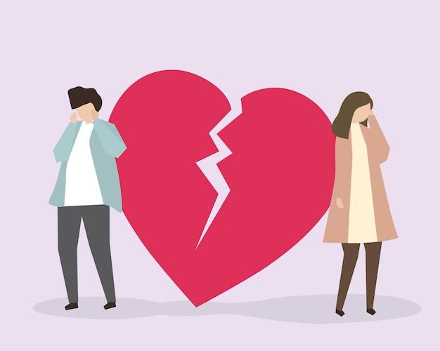 Um casal chorando devido a uma ilustração de coração partido