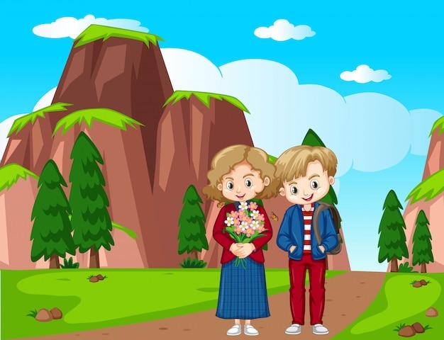 Um casal com cena de montanha