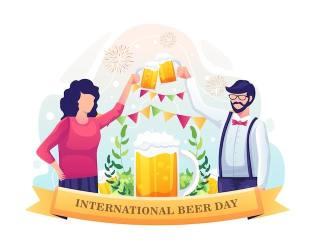Um casal comemorando o dia internacional da cerveja com uma ilustração de um brinde de cerveja
