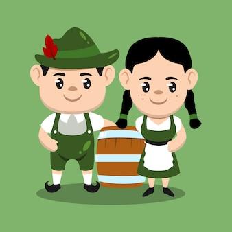 Um casal de crianças com a ilustração do desenho do mascote da fantasia da oktoberfest