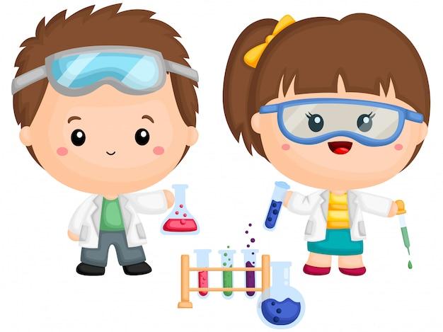 Um casal de crianças fazendo experimento de química