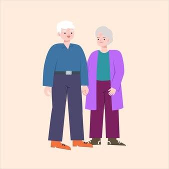 Um casal de idosos de mãos dadas