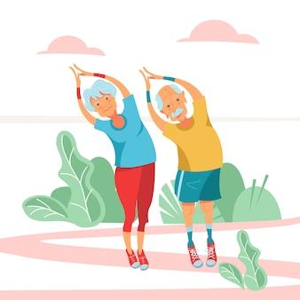 Um casal de idosos está envolvido com exercícios físicos.