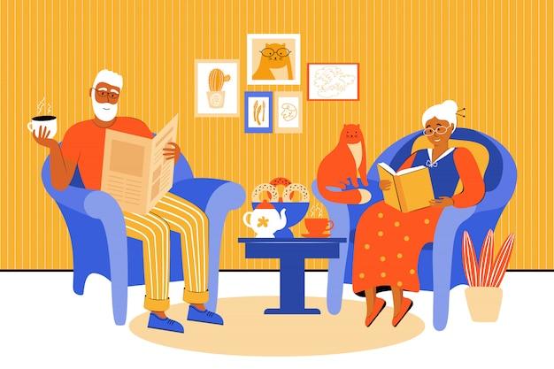 Um casal de idosos fica em casa durante a quarentena. os idosos passam tempo juntos. os avós sentam-se em cadeiras e leem livros e jornais. beba chá com bolos caseiros. ilustração em vetor plana