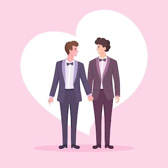 Um casal de jovens lgbtq de mãos dadas, dia dos namorados para lgbtq.