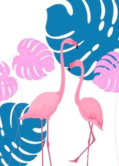 Um casal de lindos flamingos. folhas tropicais. monstera. design de impressão de pôster.