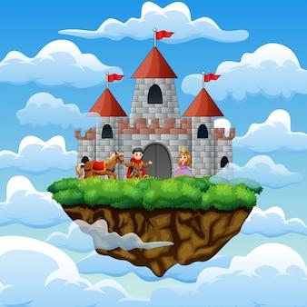 Um casal de príncipe e princesa em um castelo na nuvem