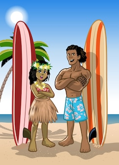 Um casal de surfistas havaianos, menino e menina