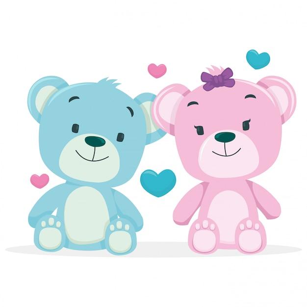 Um casal de ursos isolado no fundo branco