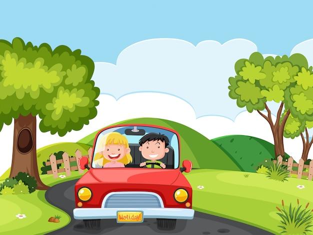 Um casal dirigindo um carro