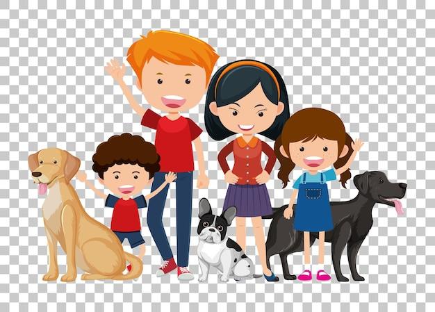 Um casal e filhos com seus cães de estimação isolados em fundo transparente