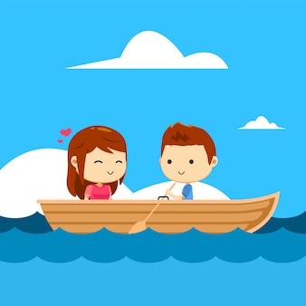 Um casal em um barco