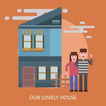 Um casal em uma casa