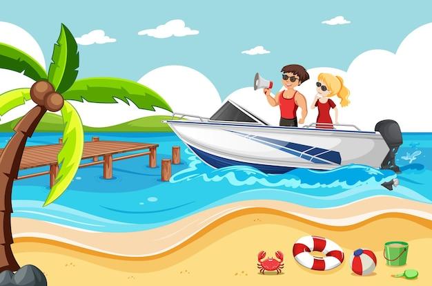 Um casal em uma lancha na cena da praia