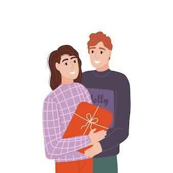 Um casal engraçado faz um presente