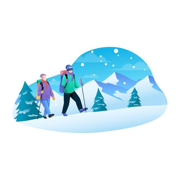 Um casal escalando montanhas em uma ilustração plana de inverno