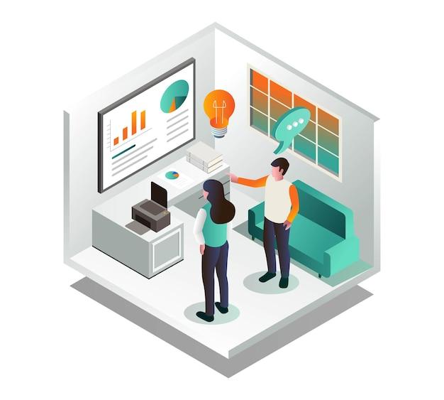 Um casal está olhando para um quadro branco com dados de análise e ideias