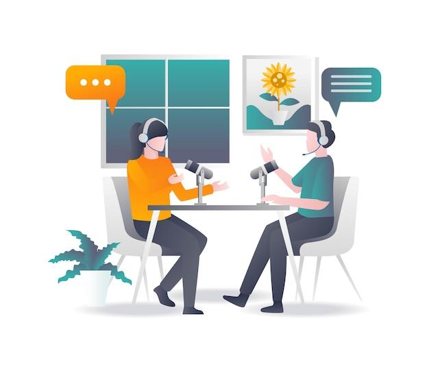 Um casal fazendo uma discussão de transmissão ao vivo em design plano