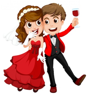 Um casal que acabou de se casar
