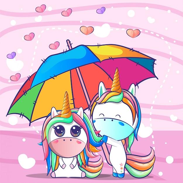 Um casal unicórnio sob um guarda-chuva