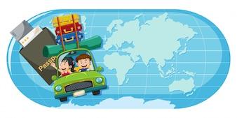 Um casal viaja no mapa do mundo
