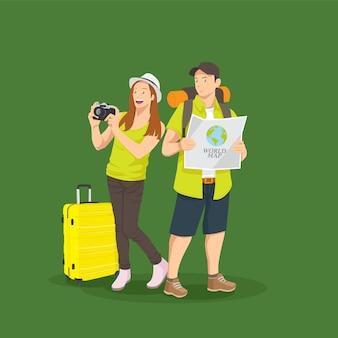 Um casal viajando tirando foto