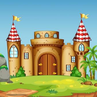 Um, castelo, torre, em, natureza