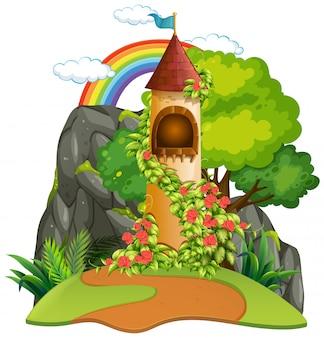 Um, castelo, torre, fundo