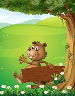 Um castor escapando com uma sinalização de madeira vazia