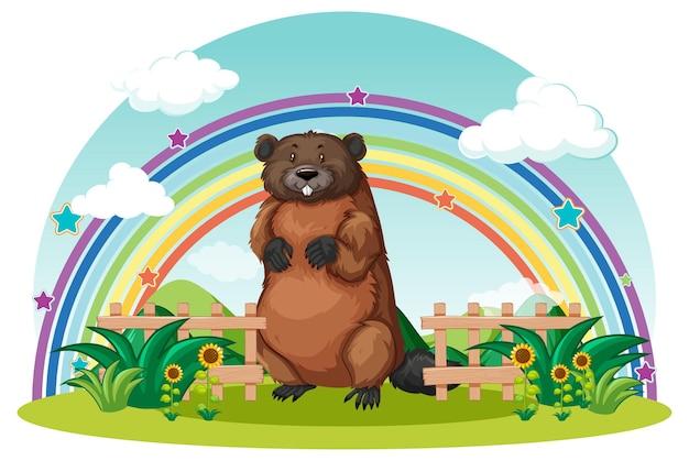 Um castor no jardim com arco-íris no céu