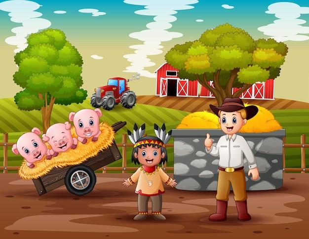 Um caubói e um índio americano na fazenda