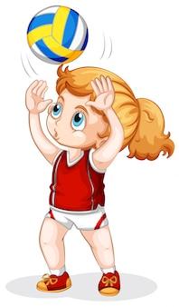 Um, caucasiano, menina, jogando voleibol